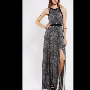 Silence + Noise Fishtail Maxi Dress in Gray